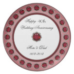 40.o Placa del aniversario de boda Plato