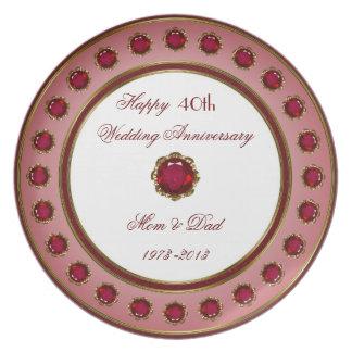 40.o Placa del aniversario de boda Platos