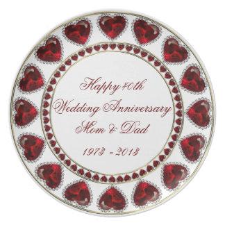 40.o Placa del aniversario de boda Platos De Comidas