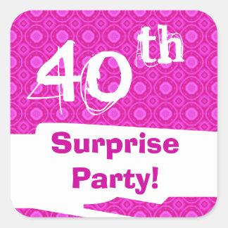 40.o Plantilla del modelo del rosa de la fiesta de Pegatina Cuadrada