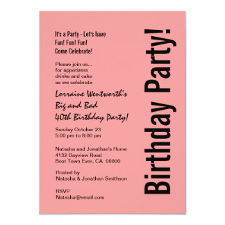40.o Presupuesto rosado y negro V101E de la fiesta Invitación