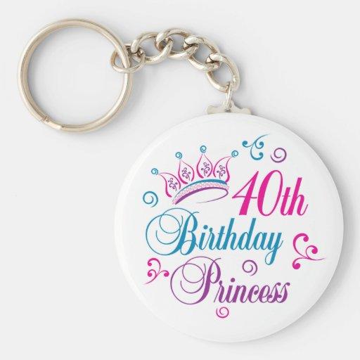 40.o Princesa del cumpleaños Llavero Personalizado