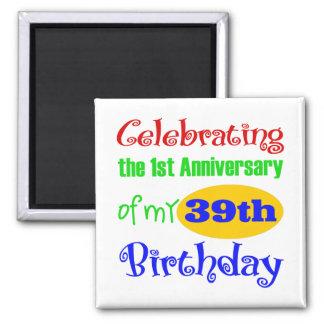 40.o regalo de cumpleaños divertido imán cuadrado