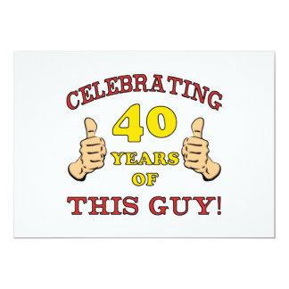 """40.o Regalo de cumpleaños para él Invitación 5"""" X 7"""""""
