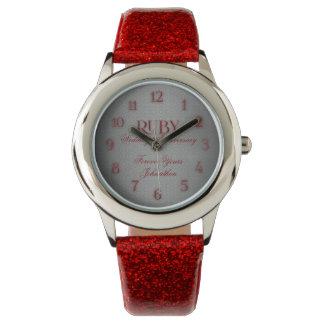40.o Reloj de encargo de rubíes de Annivsersary