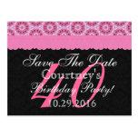 40.o Reserva del cumpleaños cordón rosado y negro  Postal