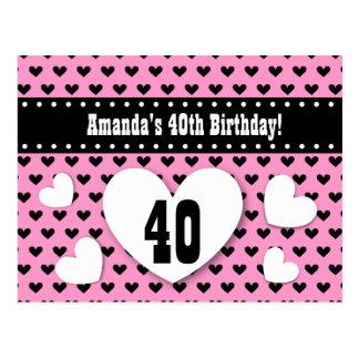 40.o Reserva del cumpleaños el rosa del cumpleaños Tarjeta Postal