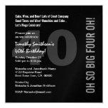 40.o Rojo blanco CUATRO OH W268 del negro moderno Invitación 13,3 Cm X 13,3cm