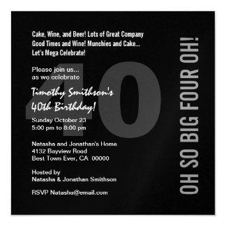 """40.o Rojo blanco CUATRO OH W268 del negro moderno Invitación 5.25"""" X 5.25"""""""