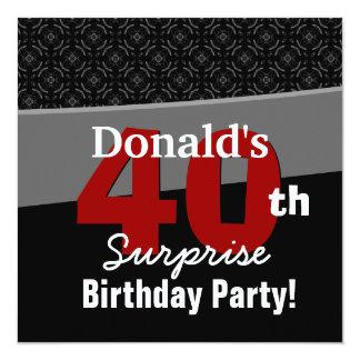 """40.o Rojo blanco negro moderno V05 del cumpleaños Invitación 5.25"""" X 5.25"""""""