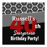 40.o Rojo blanco negro moderno V34 del cumpleaños Comunicado Personalizado
