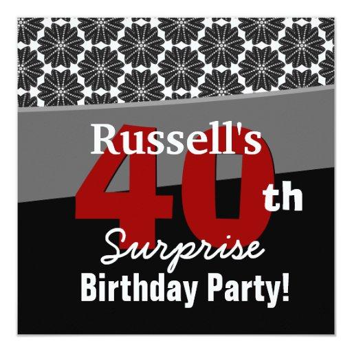"""40.o Rojo blanco negro moderno V34 del cumpleaños Invitación 5.25"""" X 5.25"""""""