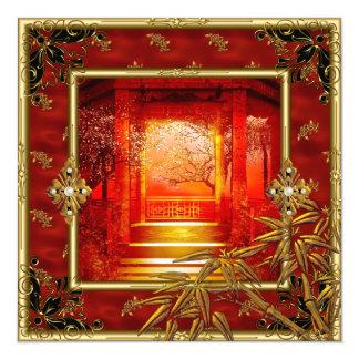 """40.o Rojo de bambú del oro asiático de la opinión Invitación 5.25"""" X 5.25"""""""