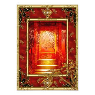 """40.o Rojo de bambú del oro asiático de la opinión Invitación 5"""" X 7"""""""