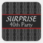 40.o Rojo de la plata del negro del cumpleaños del Pegatina Cuadradas Personalizada