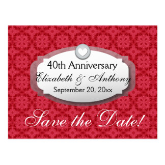 40.o Rojo de rubíes Z06 del aniversario de boda Tarjetas Postales