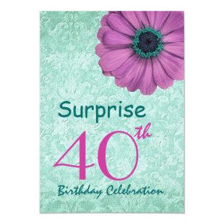 """40.o Rosa de la fiesta de cumpleaños de la Invitación 5"""" X 7"""""""