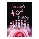 """40.o Rosa de la fiesta de cumpleaños subió y velas Invitación 5"""" X 7"""""""