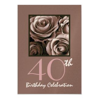40.o Rosas del CHOCOLATE de la invitación de la