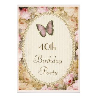 """40.o Rosas mariposa, notas del vintage del Invitación 5"""" X 7"""""""