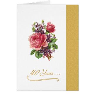 40.o Rosas rosados románticos del aniversario de b Tarjeton