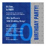 40.o S301 azul del cumpleaños y de plata moderno Comunicado Personalizado