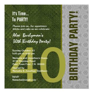 """40.o S302 verde del cumpleaños y de plata moderno Invitación 5.25"""" X 5.25"""""""