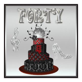 "40.o Talones de la chispa de la plata de la torta Invitación 5.25"" X 5.25"""