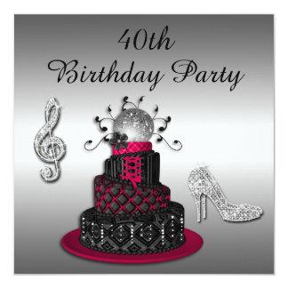 40.o Talones de la torta y de la chispa de la diva Invitacion Personalizada