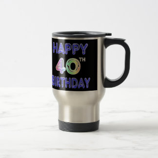 40.o Taza del cumpleaños con la fuente del impulso
