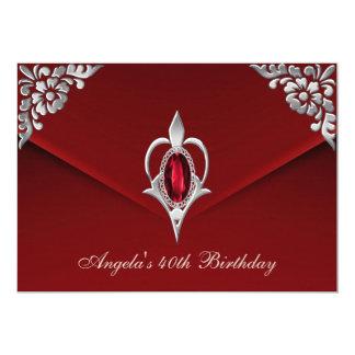 """40.o Terciopelo de color rojo oscuro de plata real Invitación 5"""" X 7"""""""