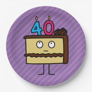 40.o Torta de cumpleaños con las velas Platos De Papel