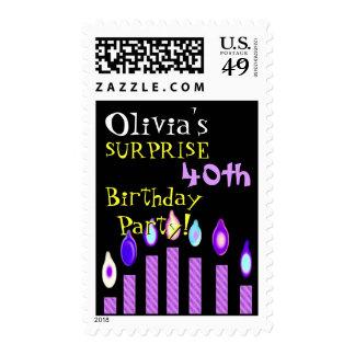 40.o Velas de la púrpura de la invitación del Estampillas