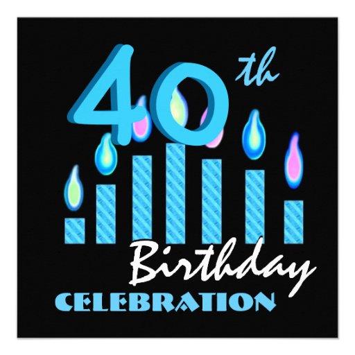 40.o Velas del azul de la invitación de la fiesta