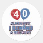 40.os diseños años del cumpleaños pegatina redonda