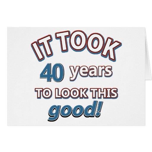 40.os diseños años del cumpleaños tarjeta de felicitación
