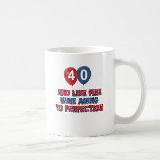 40 os diseños años del cumpleaños tazas de café