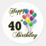 40.os regalos de cumpleaños y ropa felices del etiqueta redonda