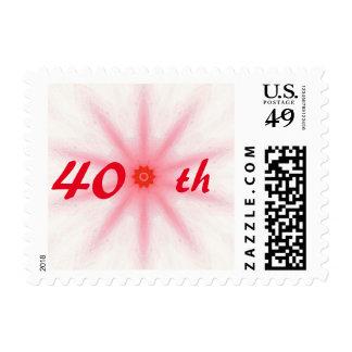 40.os sellos del aniversario de boda del rojo de
