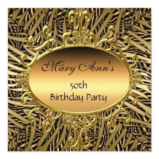 """40.os trigésimos del nuevo 50.o de cumpleaños oro invitación 5.25"""" x 5.25"""""""