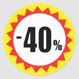40 percent sale discount stickers red white yellow