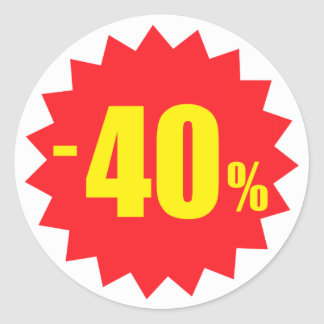 40 percent sale discount stickers, white and red classic round sticker