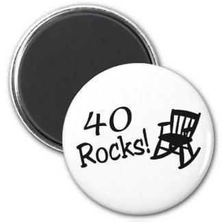 40 rocas (mecedora negra) imán redondo 5 cm