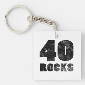 40 Rocks Single-Sided Square Acrylic Keychain