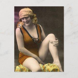 40 Sassy Swimsuit Vintage Postcard postcard