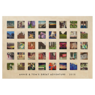 40 Square Instagram Photo Memory with Custom Text Wood Poster