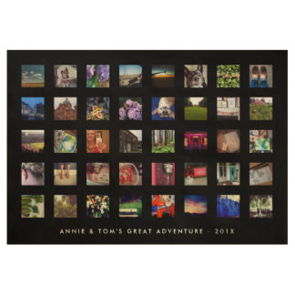 40 Square Instagram Photo Memory with Text Wood Poster