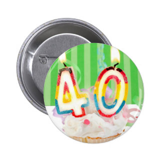 40 th birthday cupcake with candles button