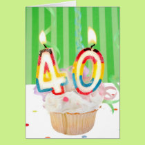 40 th birthday cupcake with candles card