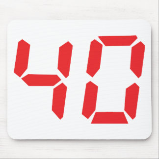 40 thirty-fourty red alarm clock digital number mouse pad